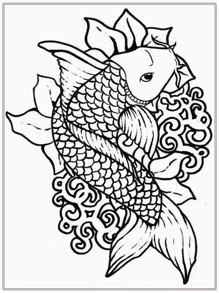 Free japanese koi fish coloring pages for adult www for Adult fish coloring pages