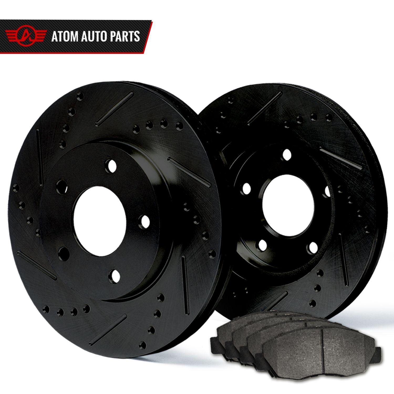 Titan Rear Black Drill Slot Brake Rotors+Ceramic Brake Pads Fits Nissan Armada