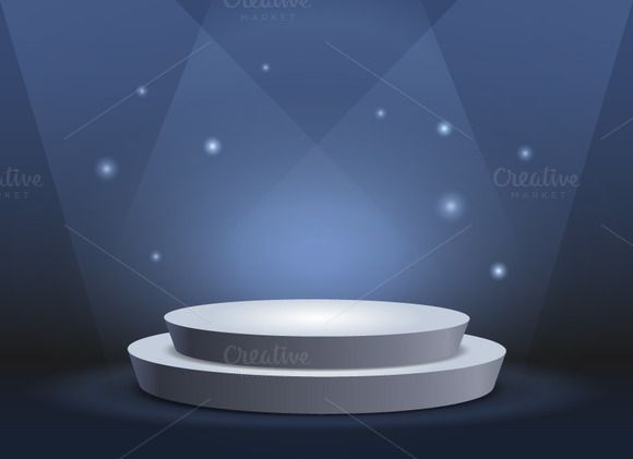 White round podium on deep blue @creativework247