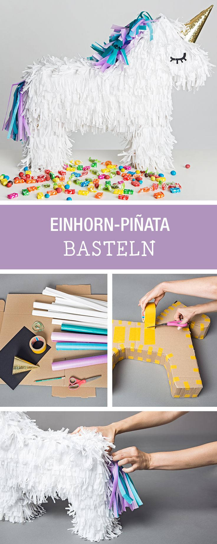 diy anleitung einhorn pi ata basteln via. Black Bedroom Furniture Sets. Home Design Ideas
