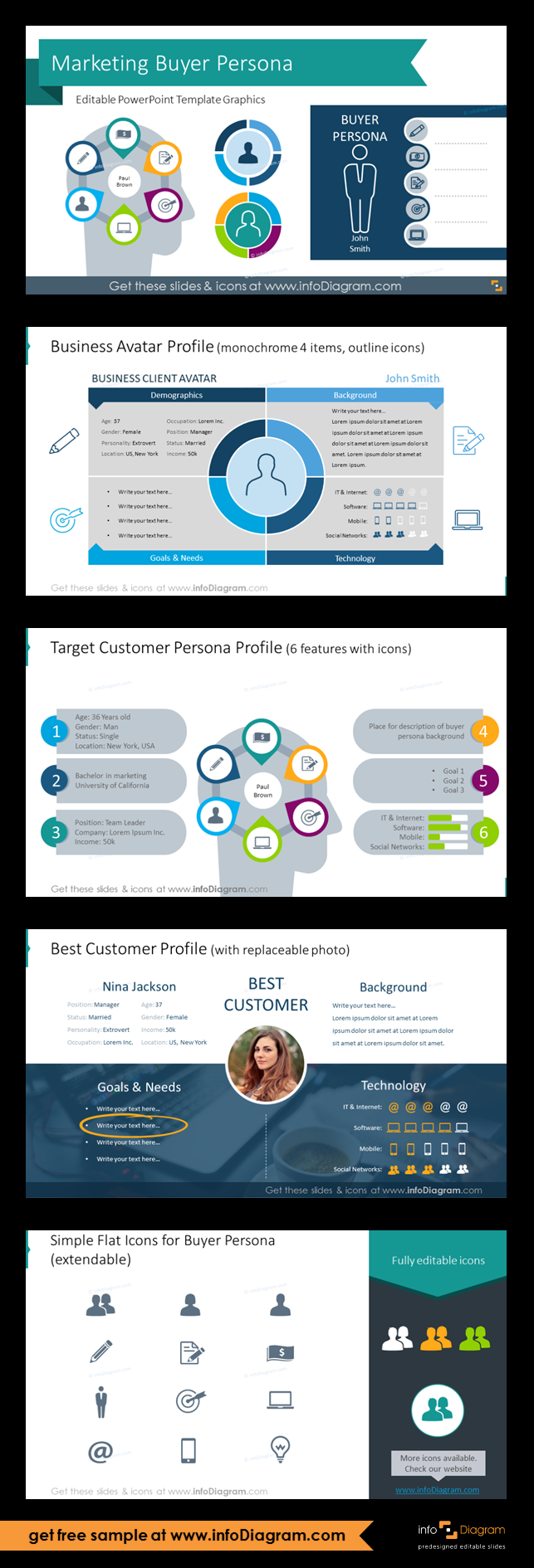 9 31 Marketing Buyer Persona Powerpoint Template Sales Avatar Icons Buyer Personas Persona Marketing Buyer Persona Template