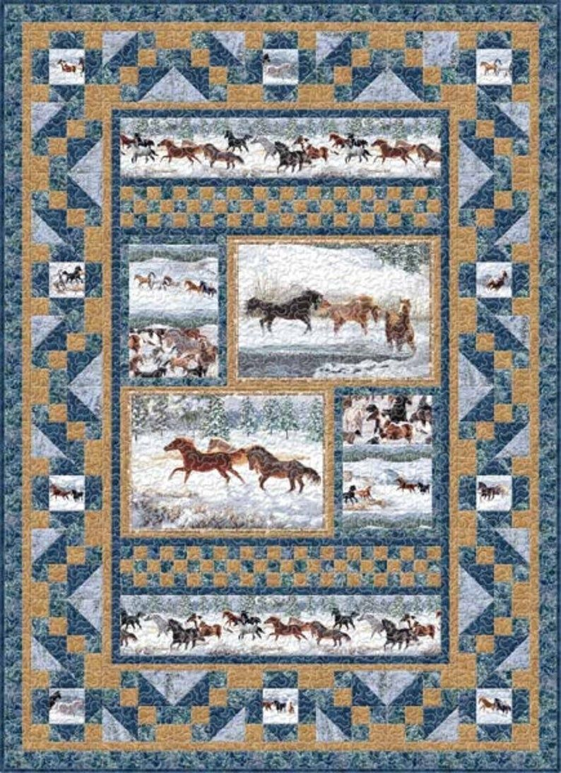 Winter Enchantment Quilt panel Etsy in 2020 Horse
