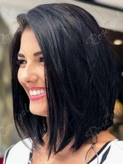 100 Echthaar Mode Frau Kurz Glatt Haar Schwarz Attraktiv Per Cken Wig Ad Bob Frisur Kurzes Glattes Haar Haarschnitt