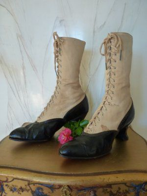 Victorian Lace up Boots with Spats, ca
