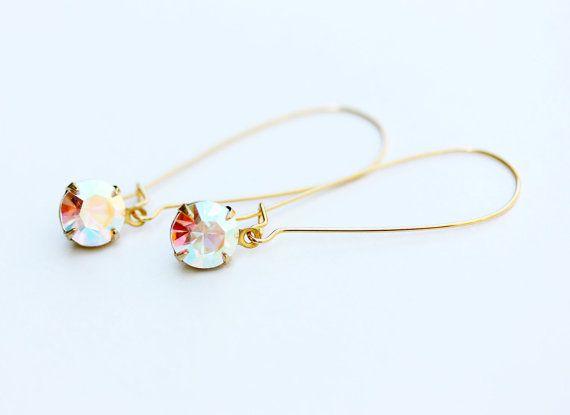 Aurora Borealis Crystal Earrings by diamentdesigns on Etsy