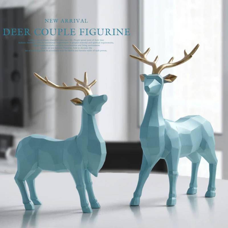 Polyresin Figurine Decoration Animal Statue Living Room Ornaments Sculpture Creative Resin Deer Craft Gift For Home Decor Living Room Ornaments Animal Statues Decor