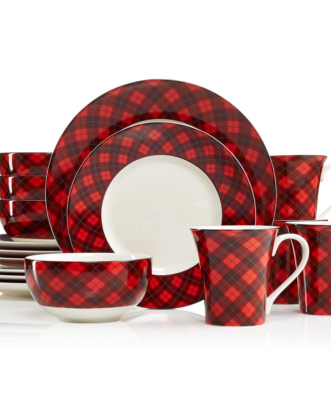 Christmas China  222 Fifth Christmas Plaid Dinnerware Set, Service For 4   Casual Dinnerware  Dining & Entertaining  Macy's