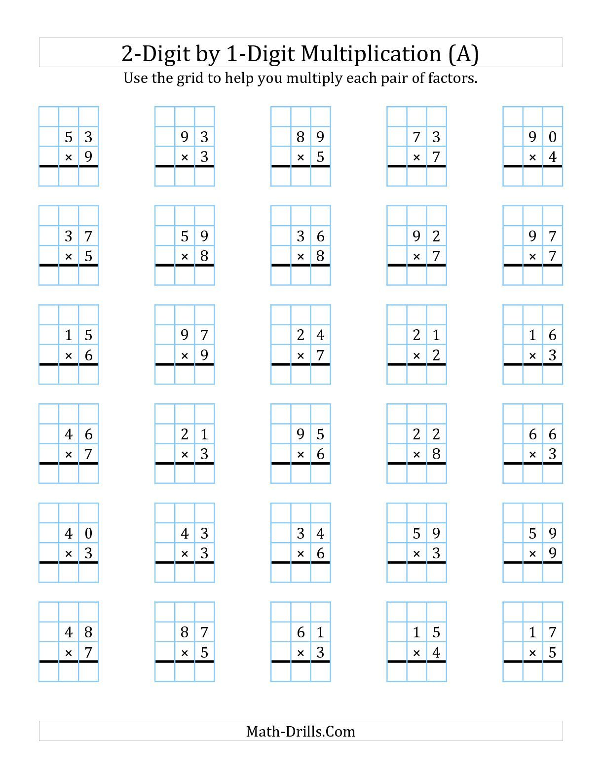 The Digit By Digit Multiplication With Grid Support A Math  The Digit By Digit Multiplication With Grid Support A Math Worksheet  From The Long Multiplication Worksheet Page At Mathdrillscom