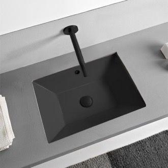 Photo of Rectangular white ceramic tub Undermount tub
