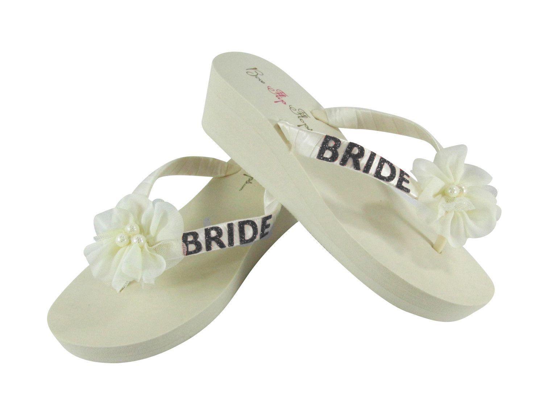 Ivory Black Glitter Wedge Flip Flops With Chiffon Pearl Flowers