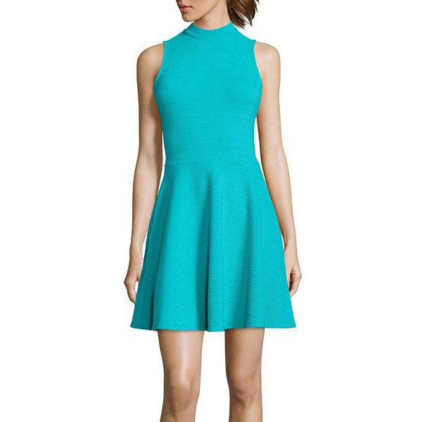c7c1aebb80 Decree® Sleeveless Mockneck Skater Dress - JCPenney
