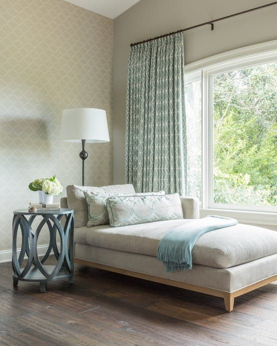 Master Bedroom Seating Area With Custom Window Treatments And Chaise Lounge Bedroom Transiti Bedroom Seating Area Master Bedroom Sitting Area Bedroom Seating