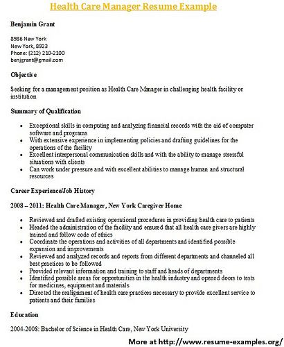 for more and various health care resume formats visit: www.resume ... - Www.resume Examples