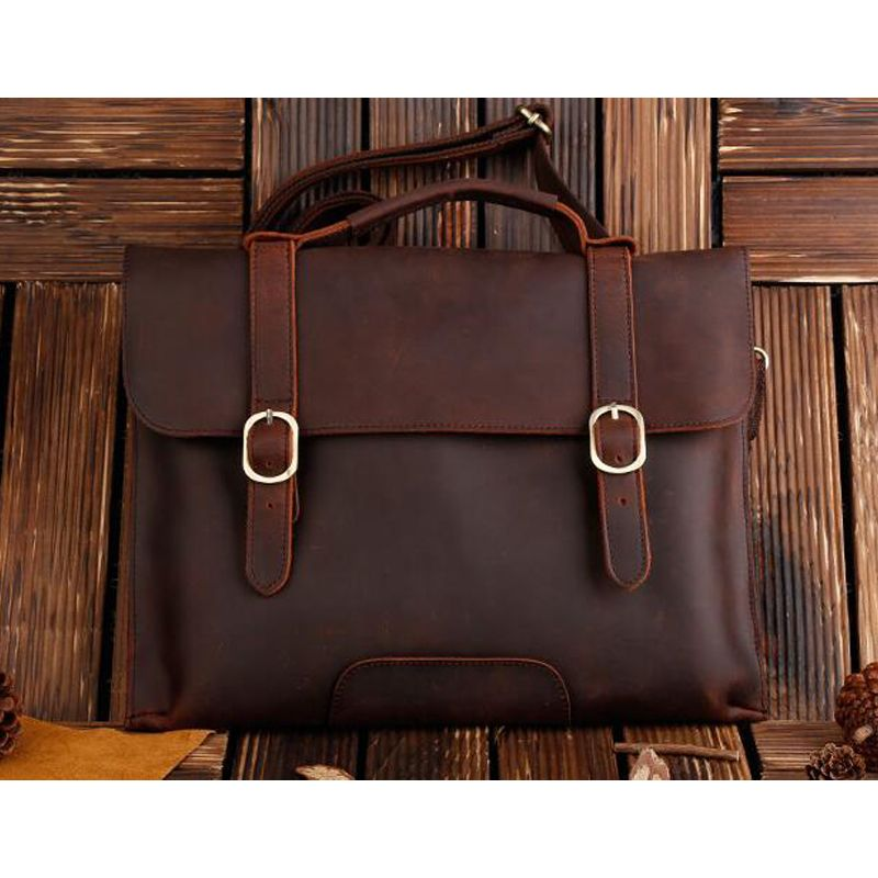 ROCKCOW Real Leather Messenger Cum Laptop Cross Body Satchel Brown Bag Briefcase 1132