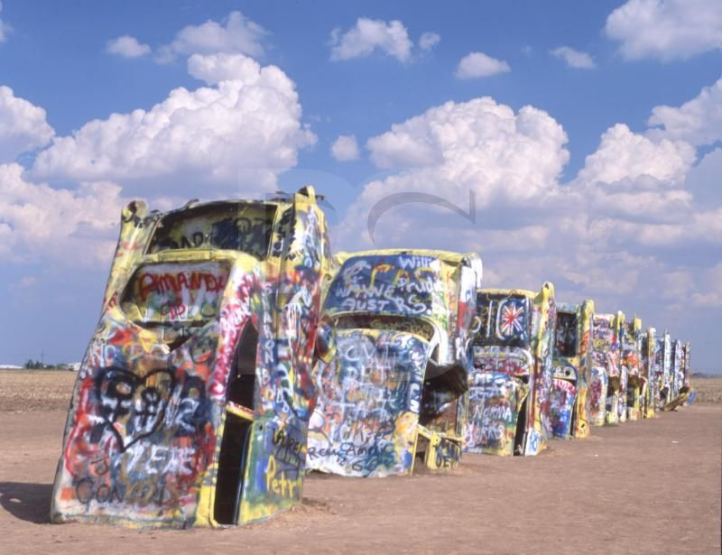 Cadillac Ranch in Texas route 66 - Spray painted over thousands of