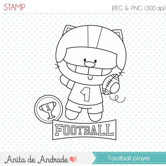 Football Cat Player Stamp Commercial Use By AnitadeAndradeStore