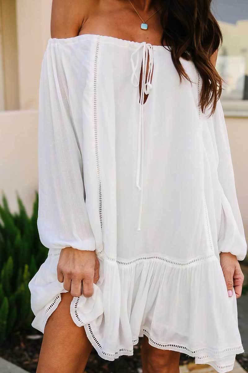 fc386307056 White Sexy Off Shoulder Fashion Mini Dress