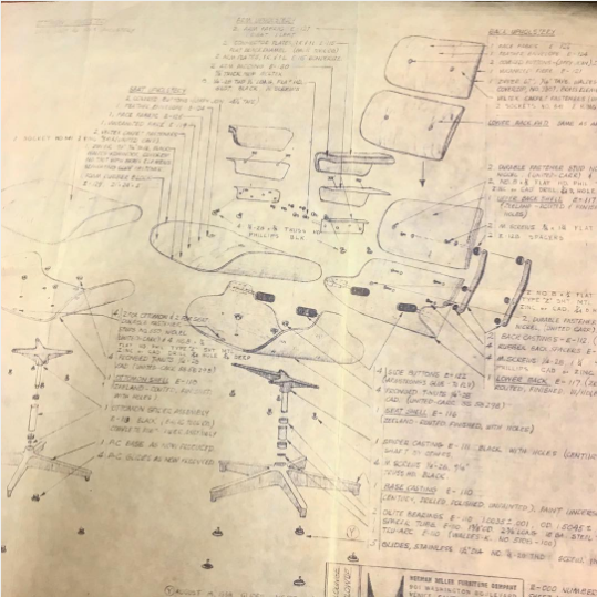 Original Blueprint Of Eames Lounge Chair Mid Century Eames