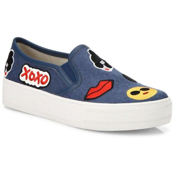 6fa1d2193 Alice + Olivia Pia Emoji Slip-On Sneakers (610 BRL) ❤ liked on Polyvore  featuring shoes