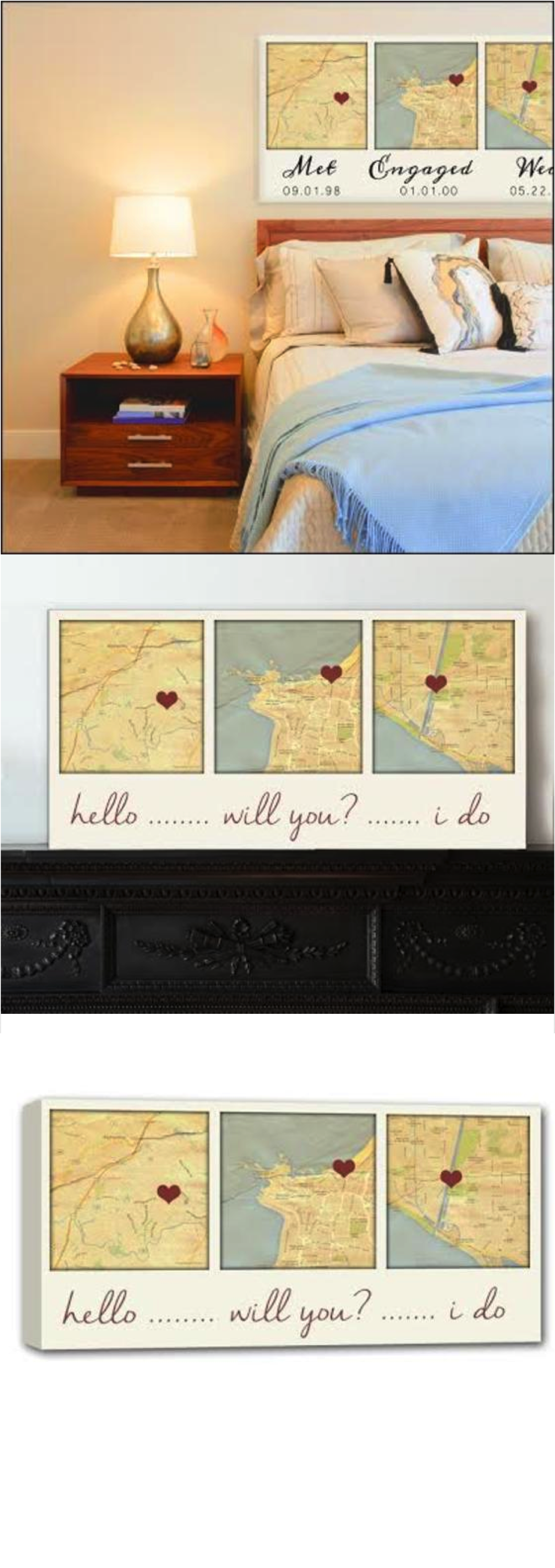 What an amazing gift for newlyweds! This map art perfectly displays the places that helped their love grow. | Made on Hatch.co by independent artists