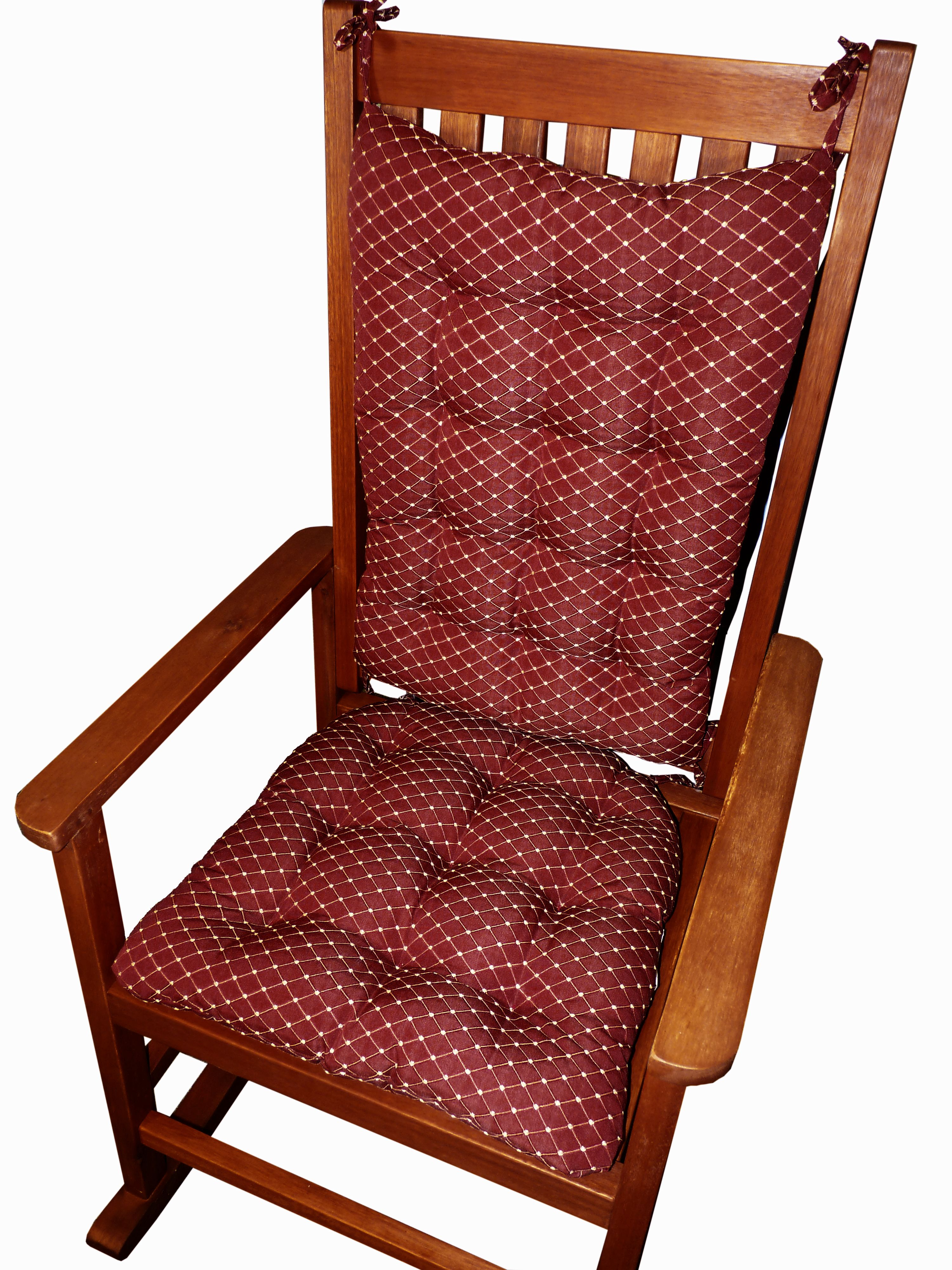 Tiffany Wine Red Extra Large Rocking Chair Cushion Set