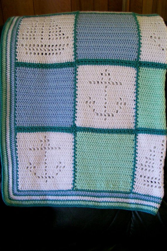 Hand Crocheted Baby Afghan Blanket - Nautical Boats and Anchors ...