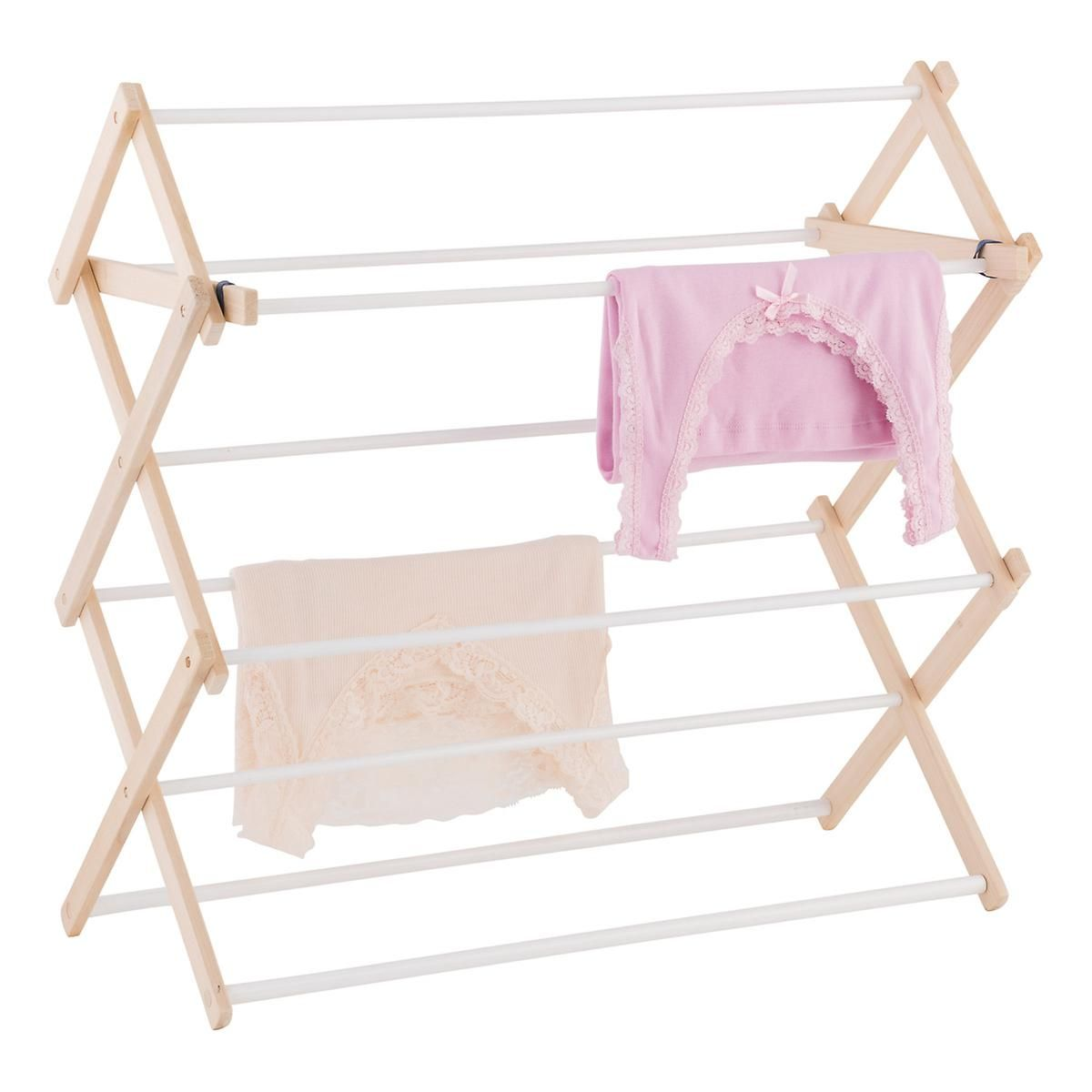 Dowel wooden wallmounted u floor clothes drying rack home