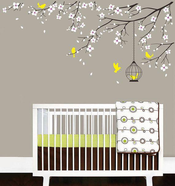 baby nursery decal birdcage flying birds decals cherry blossom tree