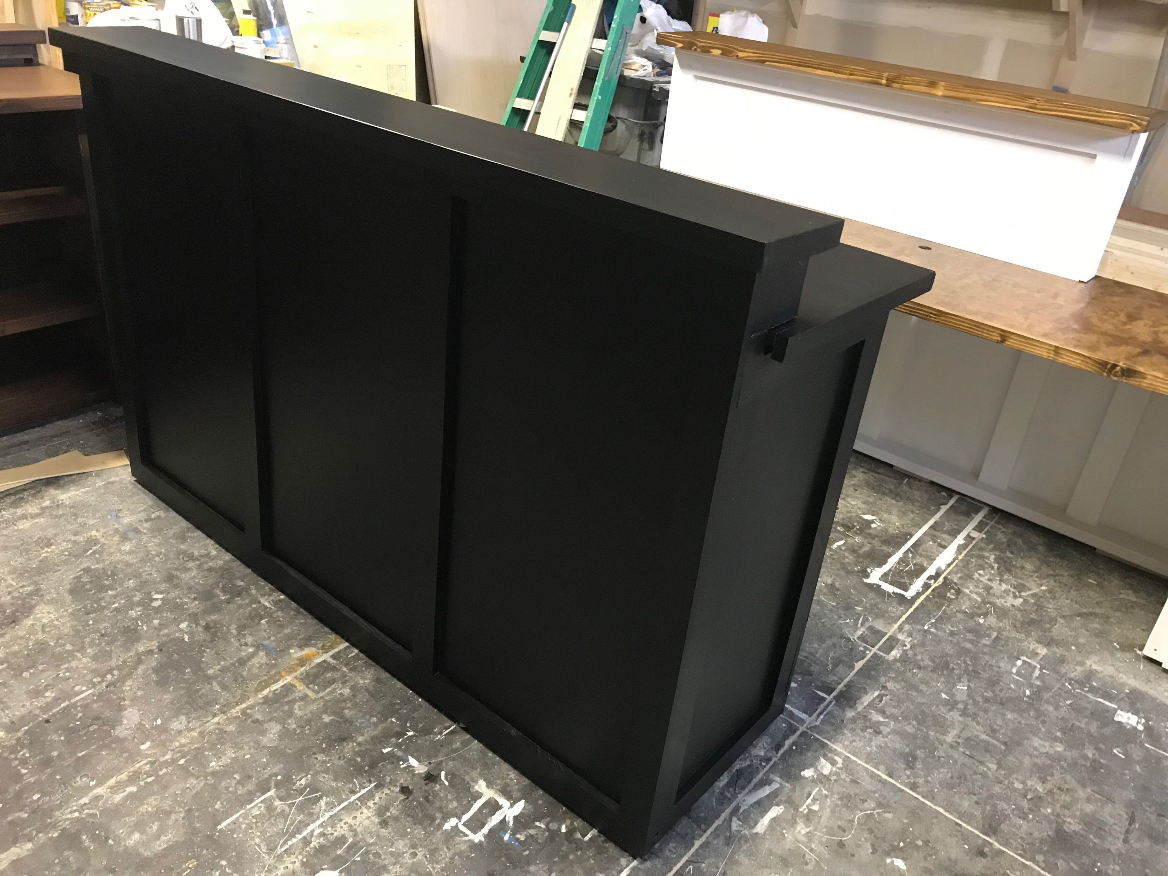 Store Front Reception Desk Painted All Black Handcrafted Dining Table Reception Front Desk Reception Desk