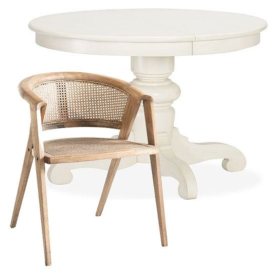 Play Off The Charming Cottage Like Style Of White Pedestal Dining Table 799 From Pottery Barn With A Structured Wooden Chair