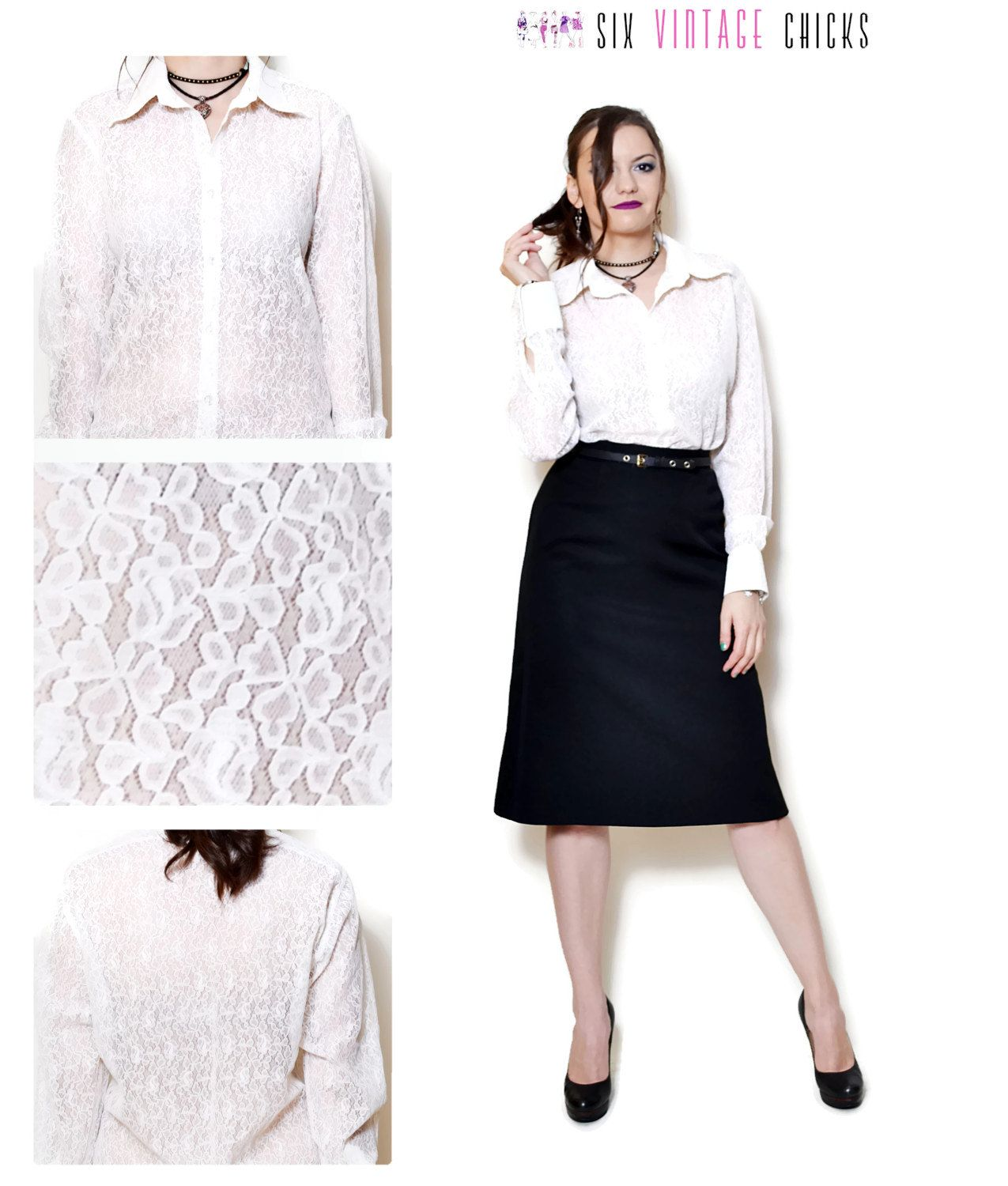 348a722c387 lace shirt women floral pattern sexy tops folk blouse 80s clothing white  blouse long sleeve shirt button down retro boho chic Size S by  SixVintageChicks on ...