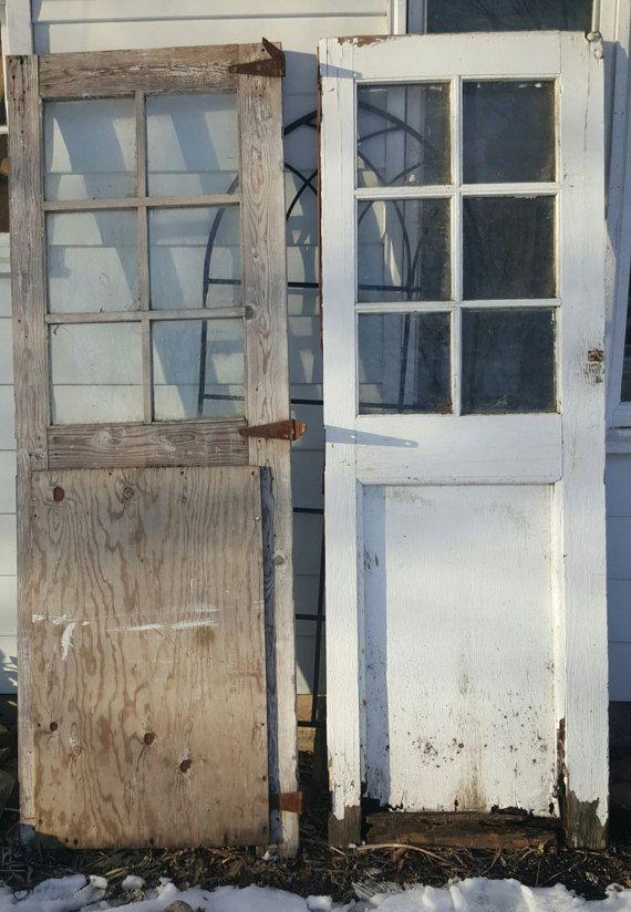 Antique Wood Door Glass Window Barn Door Architectural Salvage Industrial Building Supply Wavy Glass Sliding Farmhouse 30 X 87 5 Ac56 Barn Door Barn Door Hinges Wood Doors
