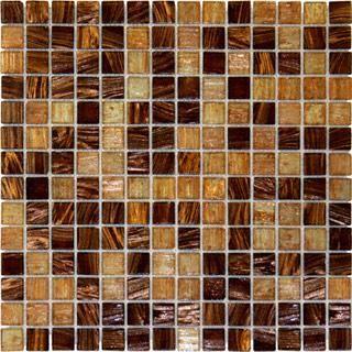 Brown Blend Iridescent Gl Mosaic Tile