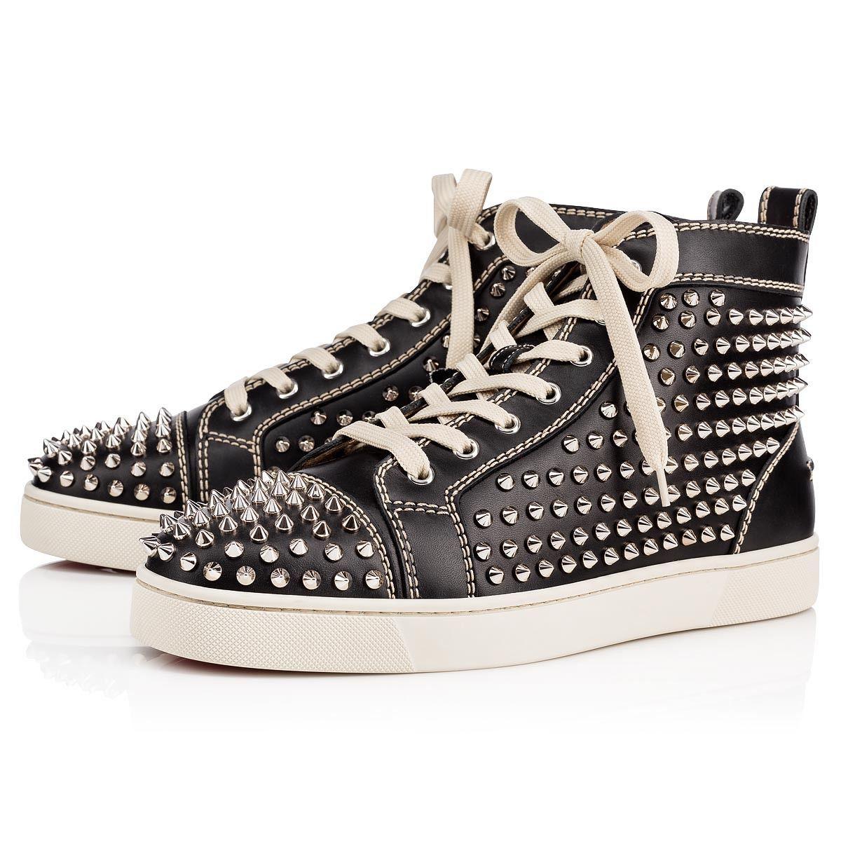 e2b695e85a5 Louis Spikes Men's Flat Black/Silver Leather - Men Shoes - Christian ...