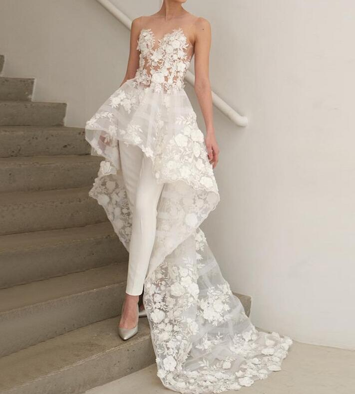 Sleeveless Illusion Round Neck Bridal Dress Unique High Low Wedding Jumpsuit With Appliques W104 In 2020 Wedding Jumpsuits For Brides Wedding Dresses Boho Bridal Gowns