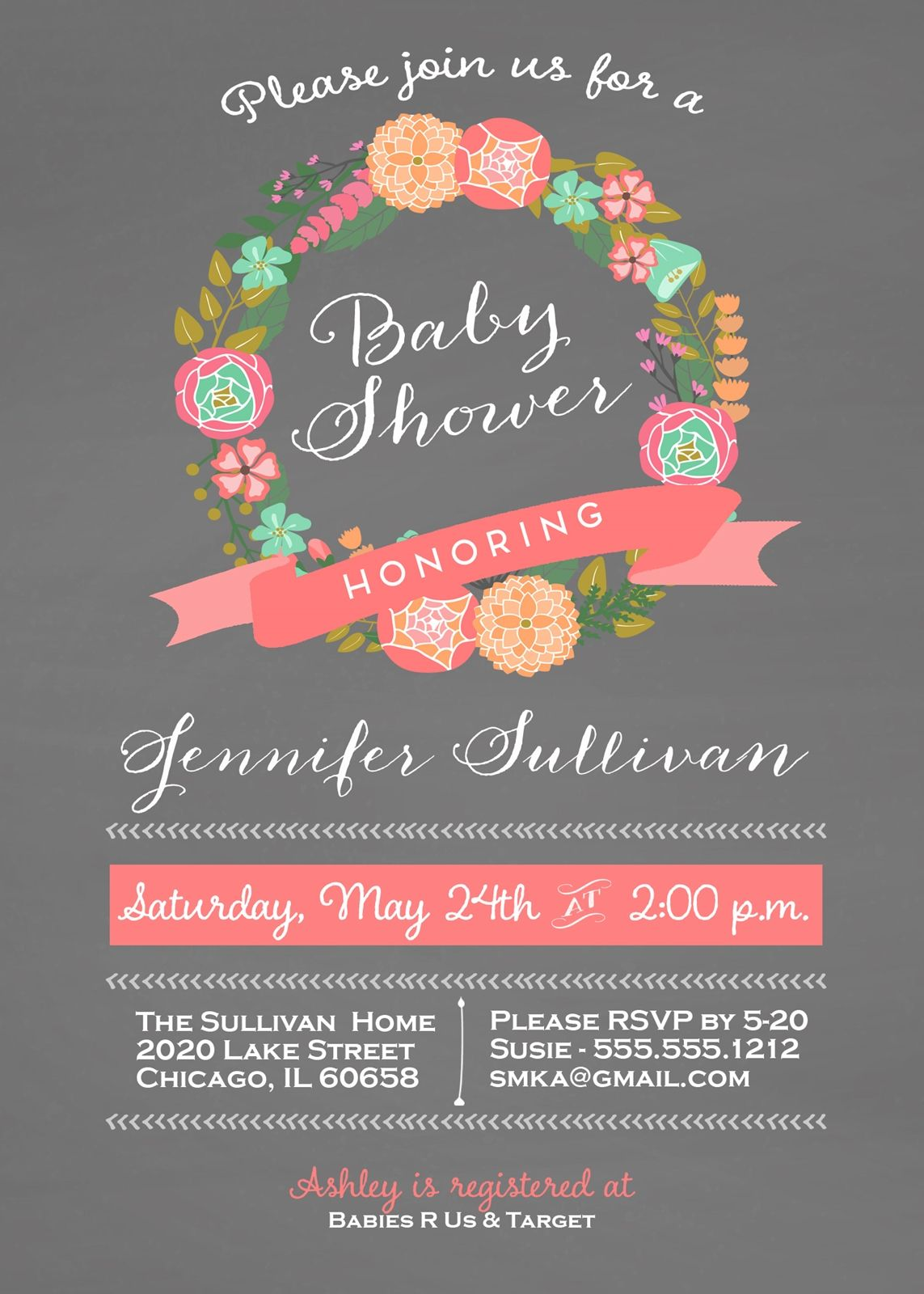 Floral Wreath Baby Shower Invitation and personalized sign, Coral ...