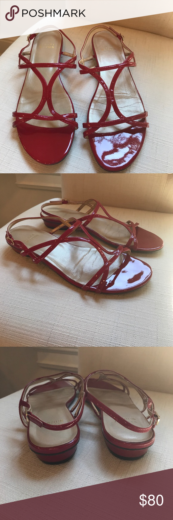 Stuart Weitzman Red Sandals Stuart Weitzman strappy red patent sandals. Very good condition! Stuart Weitzman Shoes Sandals