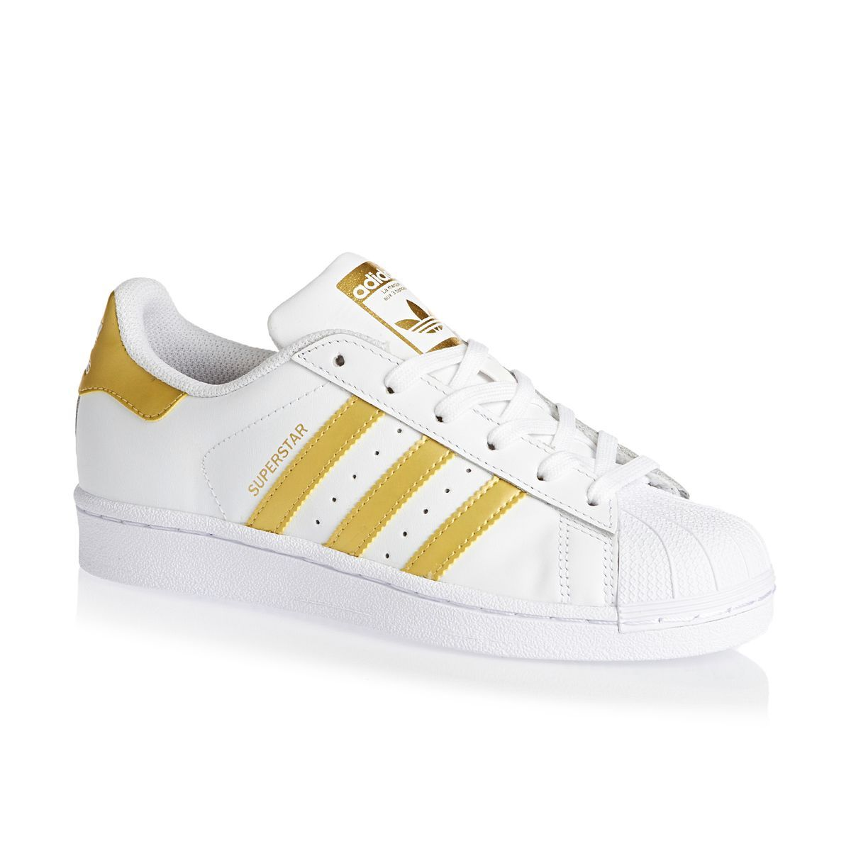 Adidas Originals Superstar J Shoes - White/Gold Metallic