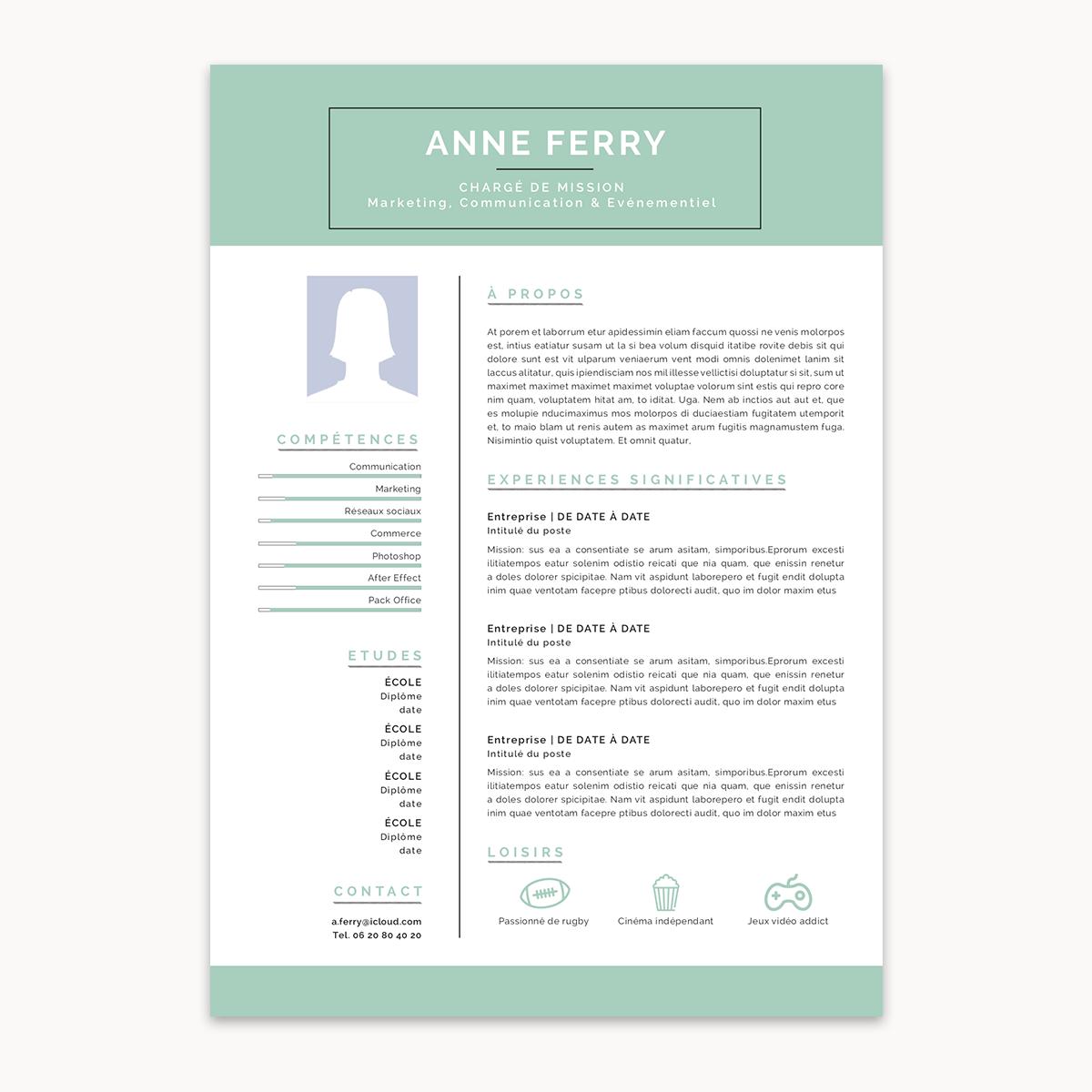Modèle de CV à télécharger et personnaliser le CV SIMPLE