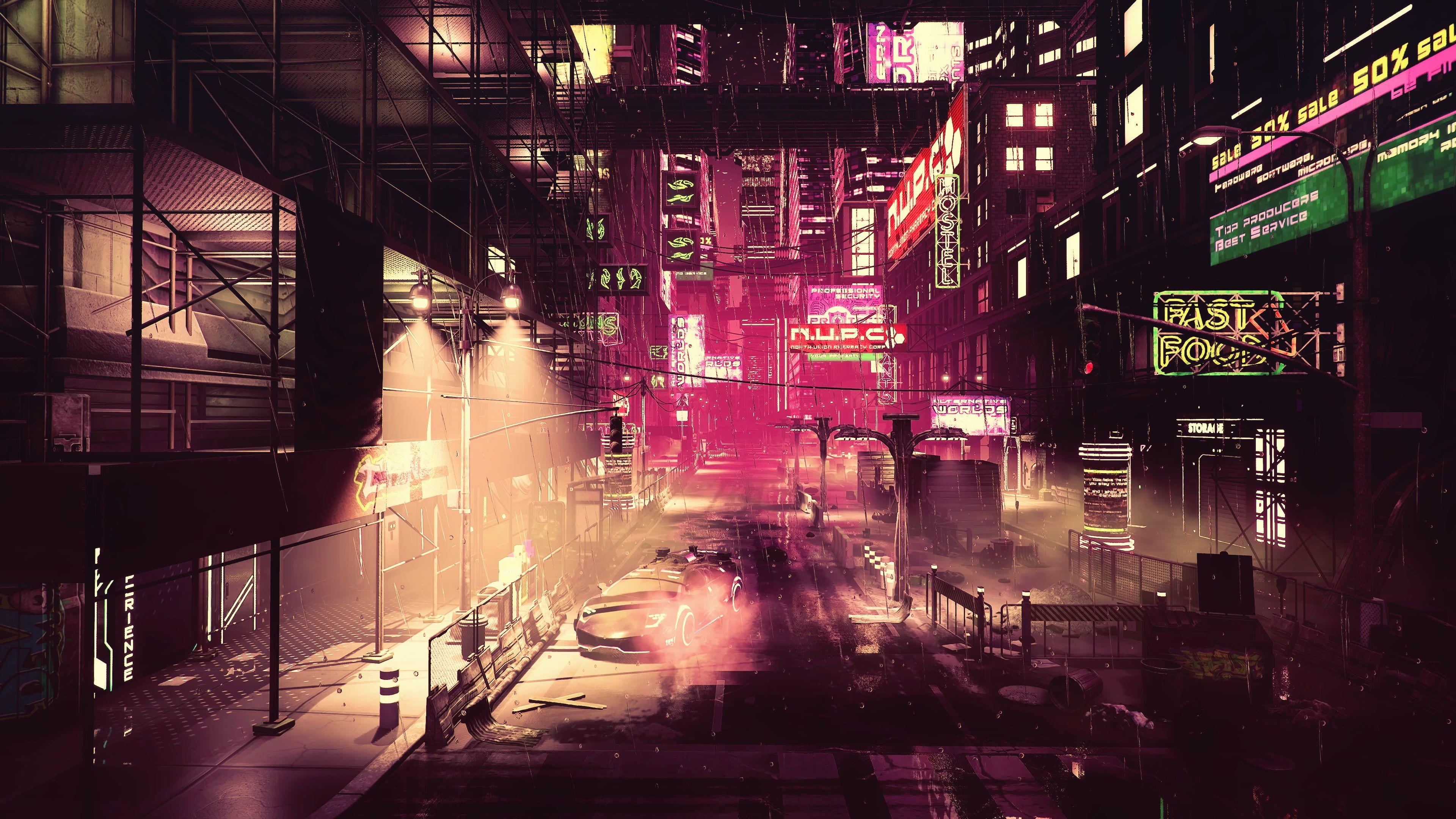 Night Artwork Futuristic City Cyberpunk Cyber Science Fiction Digital Art Concept Art Fantasy Art Cgi Fan Art Dyst In 2020 Futuristic City Hd Wallpaper Cyberpunk