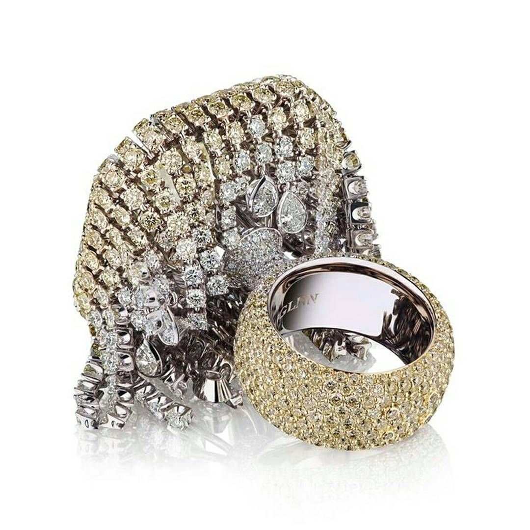 Prosecco Ring By Vlad Glynin Yellow Diamond With Border That Turns Into A Rain