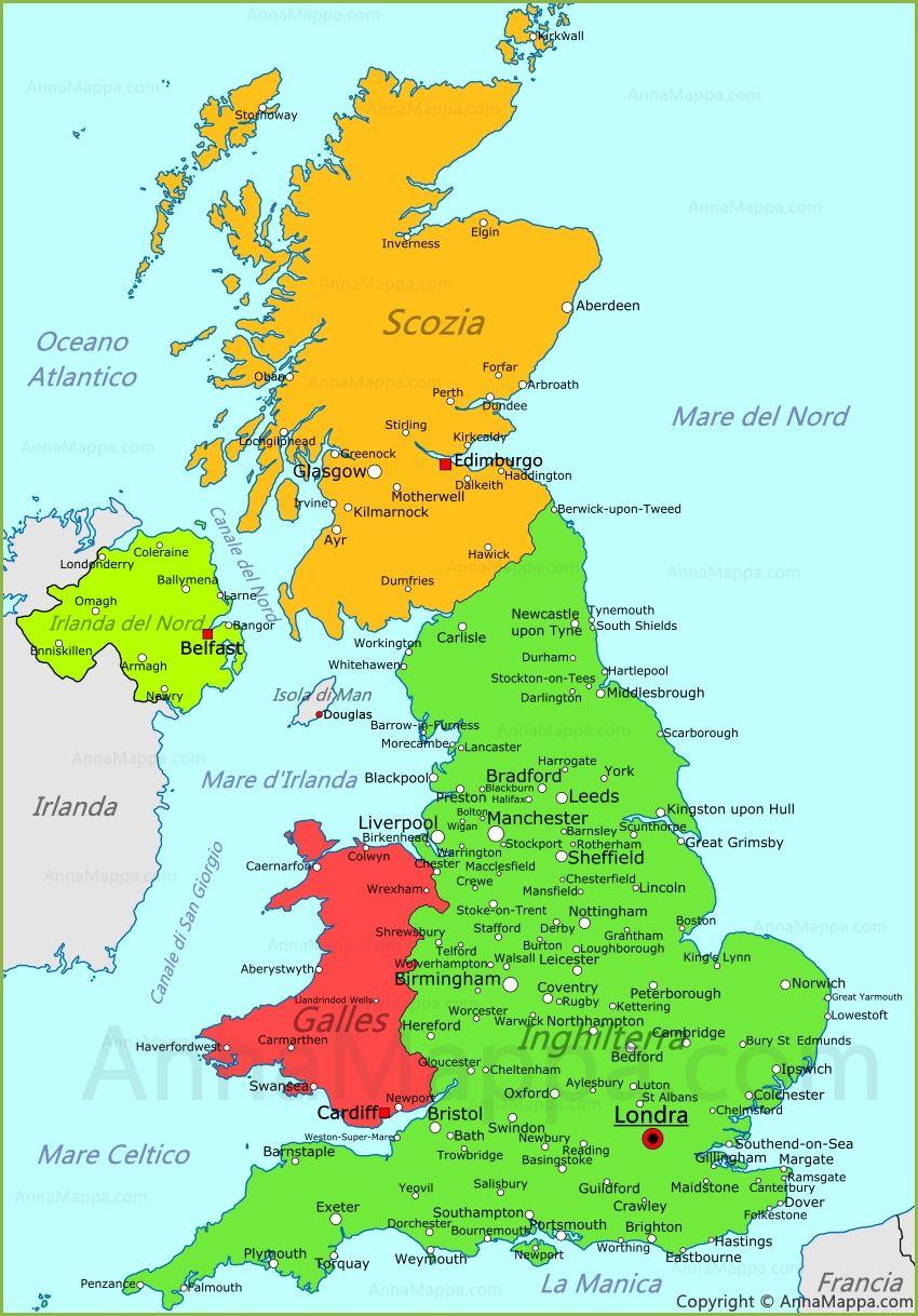 Cartina Inghilterra Per Bambini.Mappa Regno Unito Regno Unito Mappa Belfast