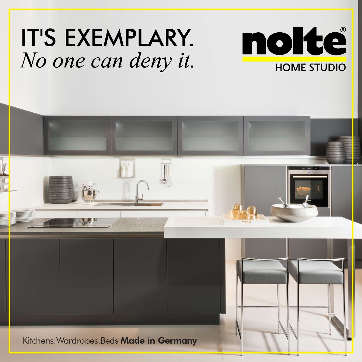 Have endless conversations in a Glas tec Satin kitchen. The worktop and front in Quartz grey and the dining area in white. #ModularKitchen #Kitchen #NolteHomeStudio Visit: http://www.homestudioindia.com/kitchens