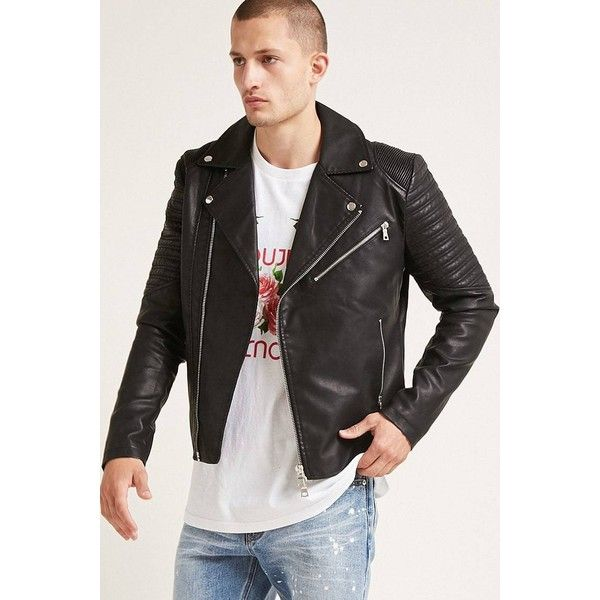 0bedf5a5a Forever21 Faux Leather Moto Jacket ($40) ❤ liked on Polyvore ...