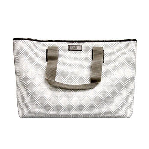 780807ea8e7 Gucci White Guccissima Trim Straw Woven Diamante Tote Handbag 289626 ...