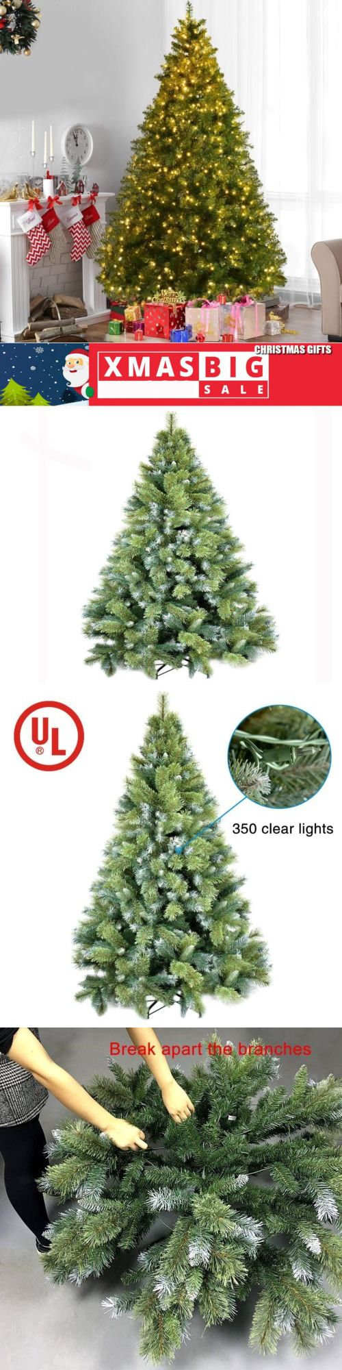 6FT Pre-lit Green Pine Christmas Tree with 250 Clear Lights PVC and Stand New