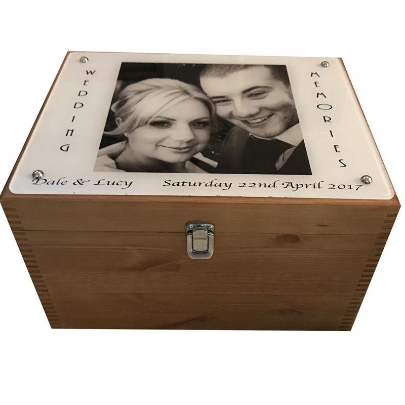 Photo on Acrylic on Wooden Wedding Keepsake Box | Wedding keepsake ...