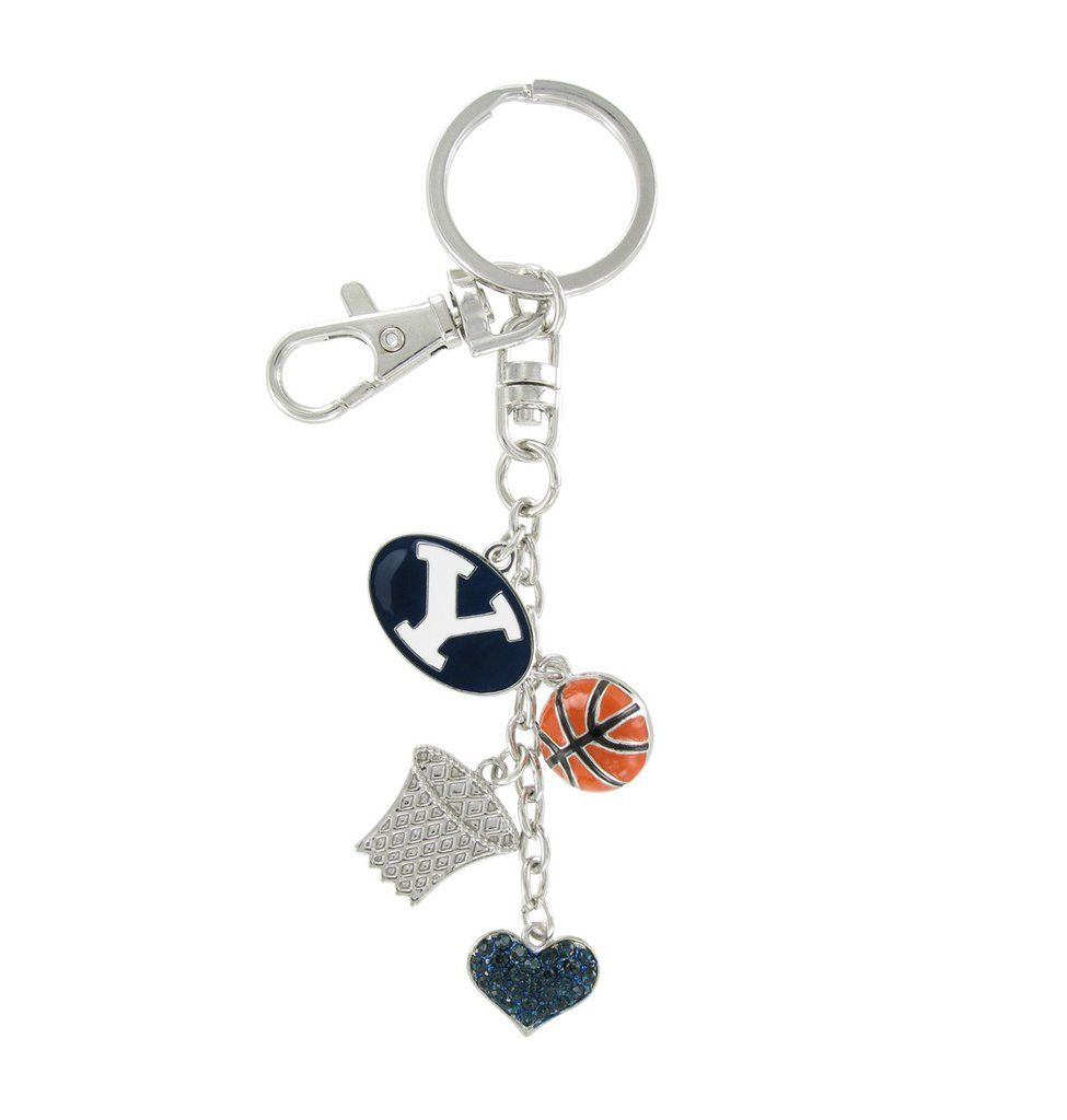 Metal Plated BYU Cougars Basketball Combo Key Chain (With