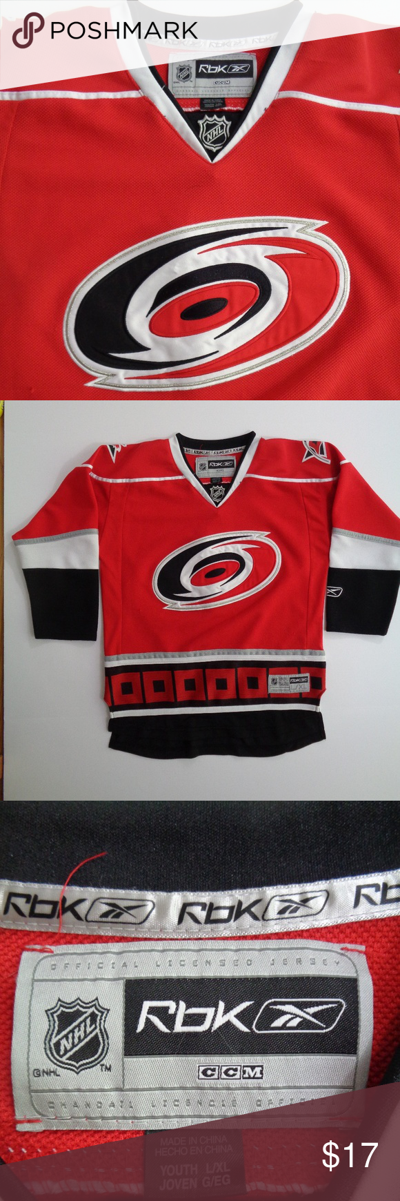 Carolina Hurricanes NHL Reebok Youth Jersey L XL This is a youth NHL Reebok  Carolina 3b6d122b8