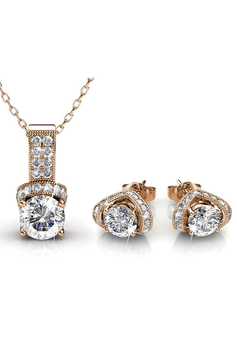 Le chic matching pendant and earrings set in gold and clear